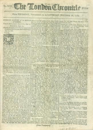 The London Chronicle, November 16-18, 1780 (Image1)