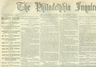 The Philadelphia Inquirer, November 2, 1861 (Image1)