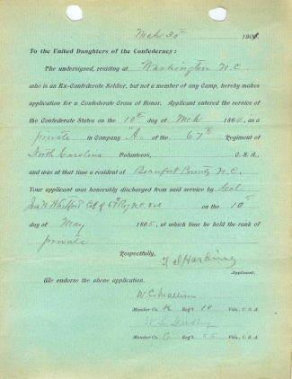 Application for Confederate Cross of Honor (Image1)