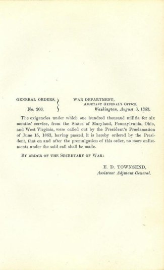 Order Regarding President Lincoln's Call For Troops (Image1)