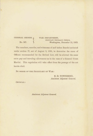 1863 War Department Orders