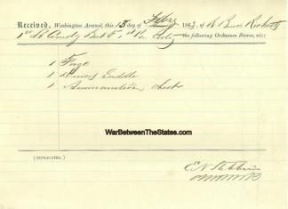 1st Pennsylvania Light Artillery Ordnance Receipt (Image1)