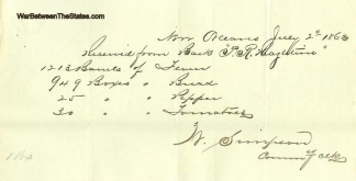 1863 Receipt For Subsistance Stores Shipped to New Orleans (Image1)
