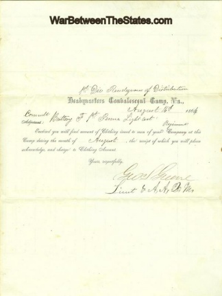 Clothing Account For Soldier In 1st Pennsylvania Light Artillery