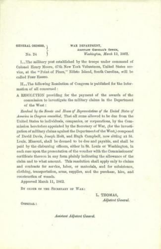 1862 Order Naming Fort Edisto, South Carolina (Image1)