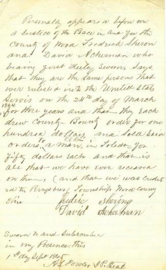 1865 Affidavit Regarding Sale of Bounty Orders (Image1)