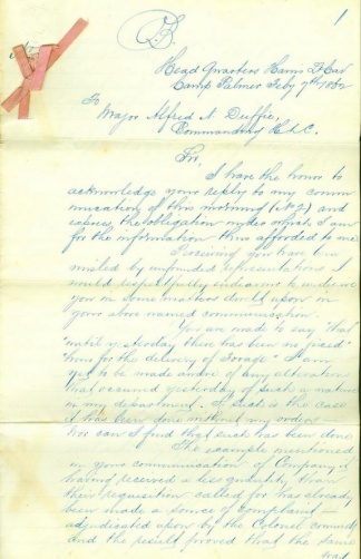 Communication To Major Alfred N. Duffie, Harris Light Cavalry