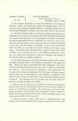 1862 Orders Regarding Hospitals & Chief Medical Officer (Image1)