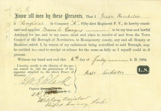 Corporal of 51st Pennsylvania Infantry Appoints Power of Attorney (Image1)