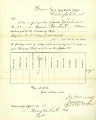 1864 Receipt From Harewood U.s. Army Hospital