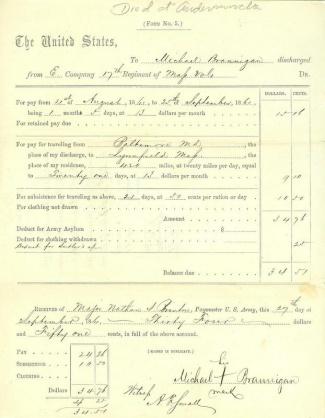 17th Massachusetts Infantry, Voucher For Pay & Travel Expenses (Image1)