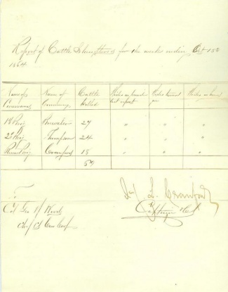 1864 Report of Cattle Slaughtered by the Army (Image1)