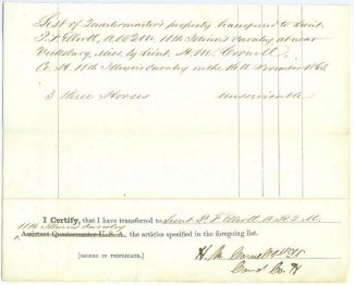 List Of Q.m. Property Turned Over By 11th Illinois Cavalry