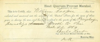 1864 Certificate of Enlistment for Ohio Soldier (Image1)