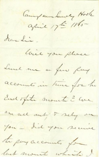1865 Letter From Major Of The 2nd U.s. Artillery