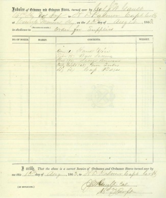 1863 Ordnance Invoice, 16th Kentucky Infantry