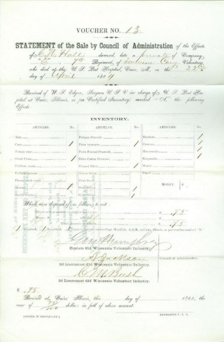 Statement of Effects For Deceased Private of 7th Tennessee Cavalry (Image1)