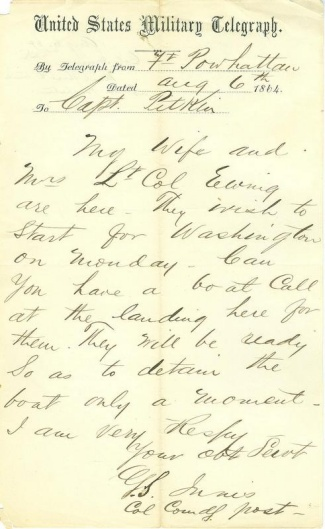 1864 Telegram From Colonel at Fort Powhattan (Image1)