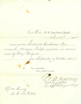 U.S. Army General Hospital Receipt For Payment (Image1)