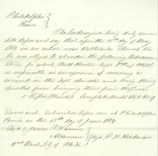 1864 Affidavit For Musket Lost in Battle (Image1)