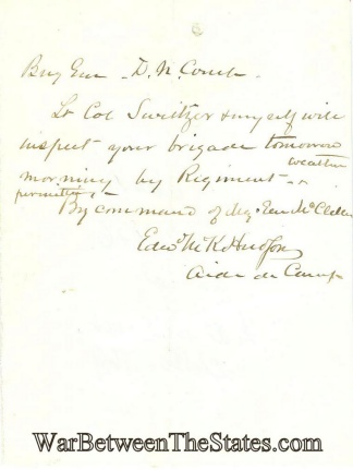 General McClellan's Aide Writes to General Couch (Image1)