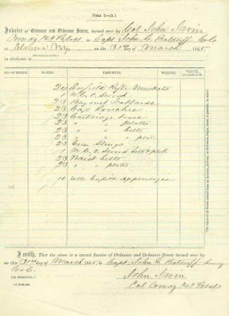 Invoice Of Ordnance Stores, 149th Pennsylvania Infantry