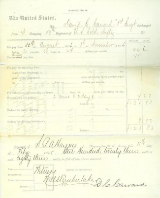 Voucher For Pay, Bounty & Clothing, 50th U.s. Colored Infantry