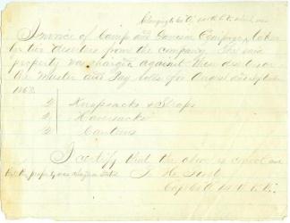 Invoice For Equipment Stolen by Deserters (Image1)