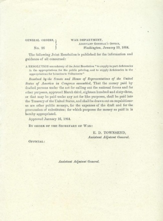 1864 War Department Order Regarding Drafted Persons (Image1)