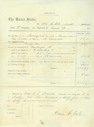 10th Vermont Infantry Voucher For Pay & Travel Expenses