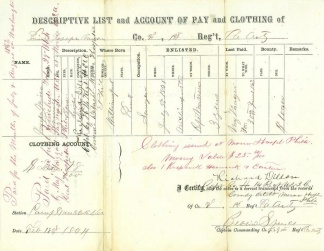 Descriptive List and Account of Pay and Clothing (Image1)