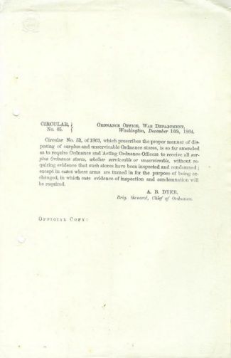 1864 Circular From Chief Of Ordnance