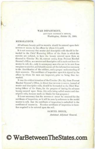 War Department Memorandum, October 21, 1864 (Image1)