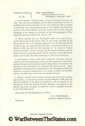 1864 War Department Orders Regarding Bounties (Image1)