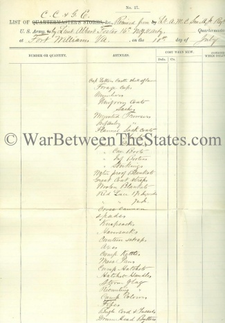 List of Stores Received by Q.M., 16th New York Heavy Artillery (Image1)
