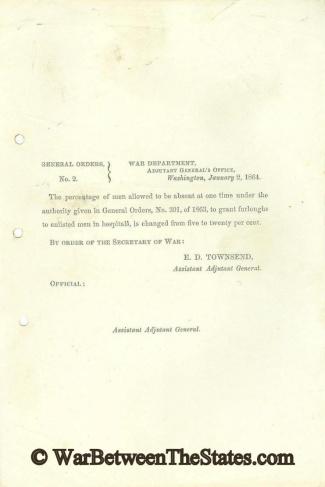 1864 Orders Regarding Furloughs For Enlisted Men  (Image1)