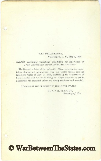 1865 Order Issued by the President of the United States (Image1)