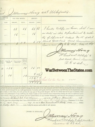 Pay Voucher For Lieutenant Of 44th U.s. Infantry