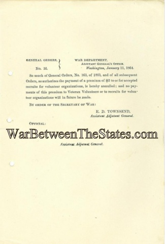1864 Order Regarding Payments to Veteran Volunteers (Image1)