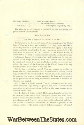 1864 Order Regarding Transferring To The Navy Or Marines
