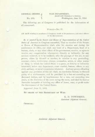1864 Orders Regarding Members of Congress & the Government (Image1)
