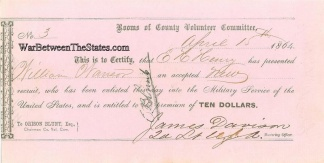 1864 Receipt For Acceptance of a New Recruit (Image1)