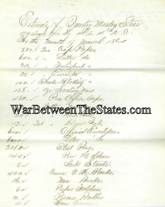 1864 Quarter Master Stores Invoice, 1st Division, 4th Army Corps (Image1)