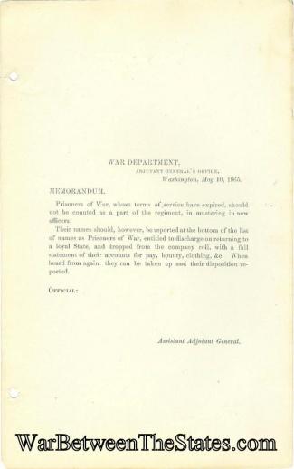 War Department Memorandum Regarding Prisoners of War (Image1)