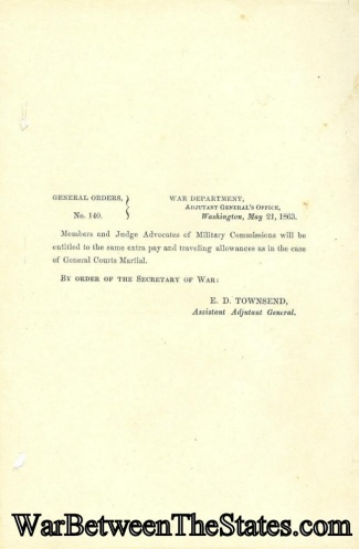 1863 Orders Regarding Military Commissions (Image1)