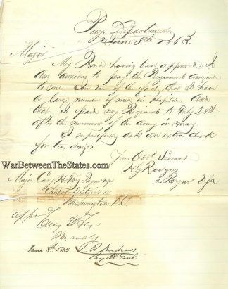 1863 Letter From Pay Department