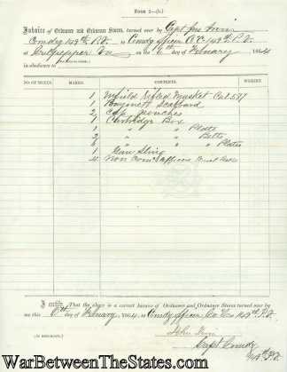 Ordnance Invoice, 149th Pennsylvania Infantry