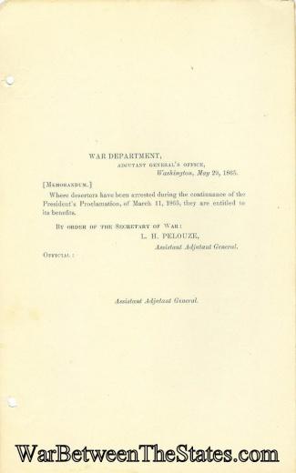 War Department Memorandum Concerning Deserters (Image1)