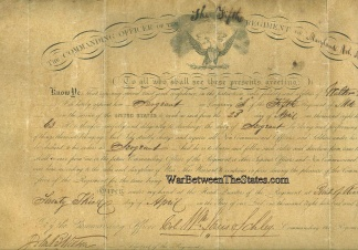 5th Maryland Infantry Appointment For Sergeant