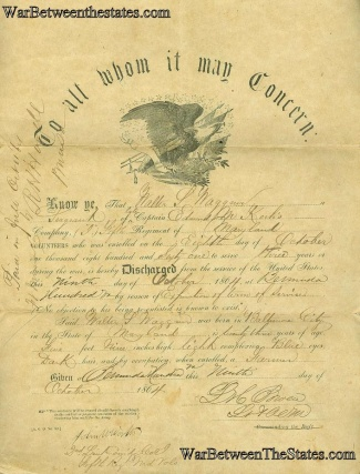 5th Maryland Infantry Discharge Certificate (Image1)